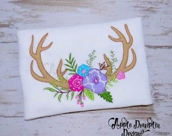 Antlers with Flowers, Bean Stitch, Applique Design, Machine Embroidery Design, Deer Antlers, Bean Stitch Antlers, 4x4, 5x5, 5x7, 6x10