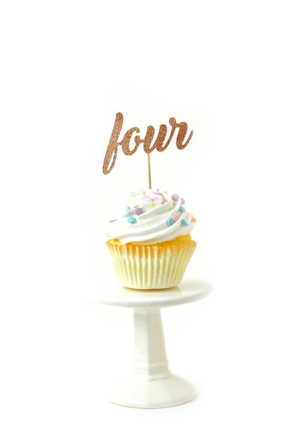 Number Four Rose Gold Glitter Cupcake Toppers, Number Four Toothpicks, Rose Gold Party Decor, Food Decoration, Fourth Birthday, 4th, Four
