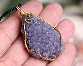 Indonesian Grape Agate Purple Botryoidal Grape Agate Pendant,Crystal Pendant J801