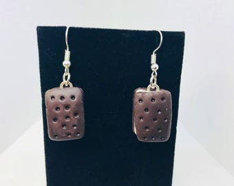 Ice Cream Sandwich Earrings - Dangle - Gift - Birthday - Anniversary - Polymer Clay - Unique - Food Earrings - Summer - Chocolate