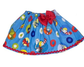 Girl skirt Girl Cat in the hat skirt girl skirt toddler Cat in the Hat skirt  blue Girl Skirt,  Girl birthday skit,  baby Skirt  girl Skirts