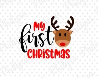 My First Christmas svg, Christmas Svg, Reindeer, Digital Cutting File, SVG