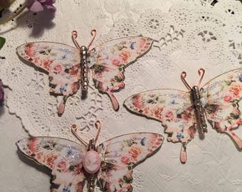 Champagne Roses Cameo & Glass Bodied Butterflies DarlingArtByValeri Set for Scrapbooking Embellishment Mini Albums Cards Wedding Gifts