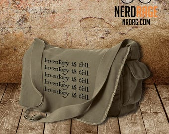 Inventory is Full Canvas Messenger Bag - Cotton Canvas Bag - World of Warcraft Inspired Bag - Custom Bags Available