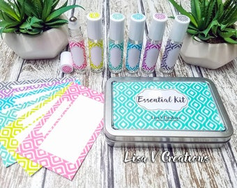 Essential Oils Kit for Travel- Modern Retro Tin, Roller bottles, tin, labels, and recipe cards for Young Living, doTerra, etc