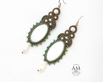 Emerald Green Earrings Beaded Earrings Large Statement Earrings Soutache Jewelry Dangle Green Earrings