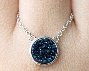 Midnight Blue Druzy Bezel Necklace