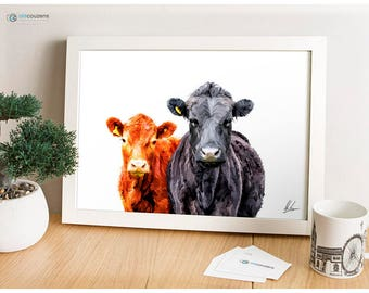 Cattle Painting, Dexter Cows, Dexter Breed Illustration, Rare Breeds Print