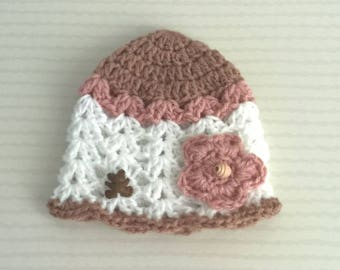 Baby Hat pink and chocolate, white decorative Teddy bear and flower beaded, 0-3 months