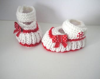 Babies ballerinas 6/9 months baby shoes white red polka dot shoes