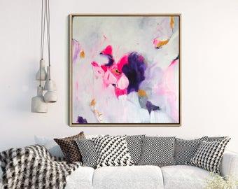 "Abstract Painting Original, Pink Abstract Art, Abstract Canvas Painting, Original Painting, Contemporary Art, Wall Decor, Wall Art, 18"" x18"""