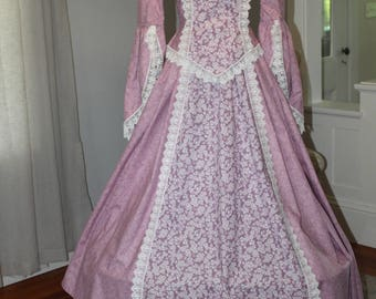 Handmade Colonial Renactment Gown Costume w/detachable Bustle and Train SZ Small