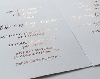 Rose Gold Foil // Wedding, Save The Date, Engagement Invite