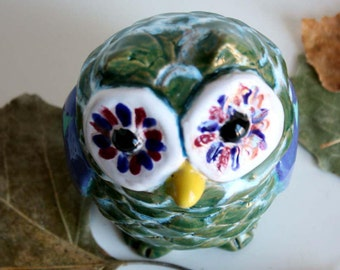 green and turquoise Owl, owl ceramic handmade, italian pottery, home decoration.