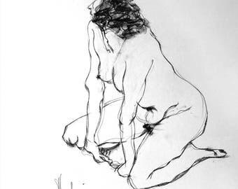 Tagliazucchi Roberto sculptor,  Original charcoal Drawing number 20