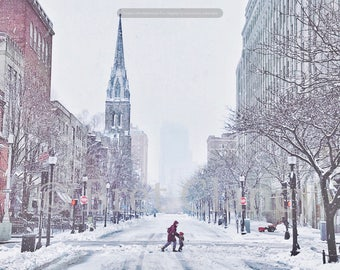 Newbury Street, Back Bay, Boston during winter snow storm - Not a single car in sight! - FREE SHIPPING!
