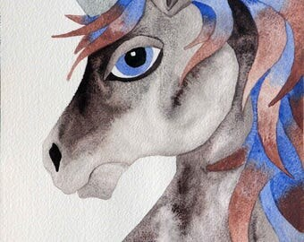 Whimsical art, original art, unicorn art, whimsical animal art, watercolor painting, kids room art, nursery art, unicorn gift, unicorn