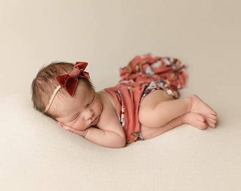 FIRESIDE VINTAGE VELVET Hand-tied Bow (Headband or Clip)- velvet bow headband; velvet bow; newborn headband; baby headband; toddler bow
