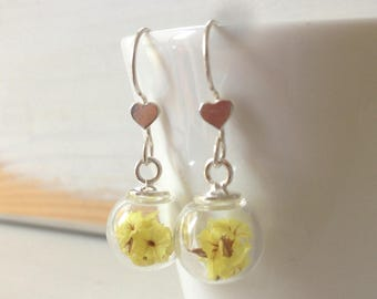 Dangling earrings with hearts in silver 925, wedding earrings, Valentine's Day, mother party