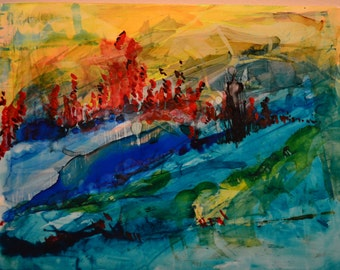 Hills: Abstract Alcohol Ink Art