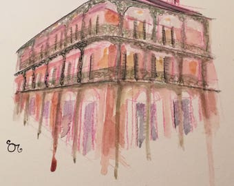 New Orleans French Quarter Architecture Watercolor Giclee Print