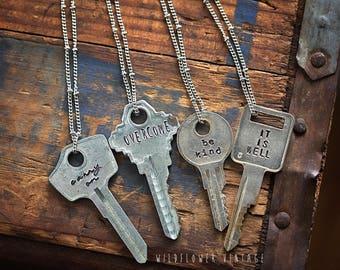 Vintage Silver Key Necklace | Hand Stamped Custom Personalized Repurposed Upcycled Inspirational Giving Personalized Jewelry Gift