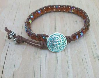 Dark topaz leather cord ladder wrap bracelet, single leather wrapped bracelet, beaded bracelet, Czech beaded bracelet, trendy jewelry