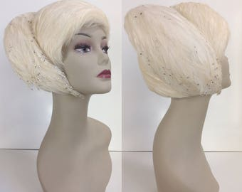 ONE OF A KIND 1960's Styled Jack McConnell New York Red Feather Label Ivory White Feather Showgirl Style Toque Hat with Rhinestone Detail