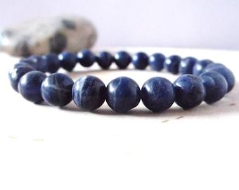Sodalite, genuine gemstone bracelet, stone bead stretch bracelet, yoga bracelet, womens mens yoga jewelry, semi precious