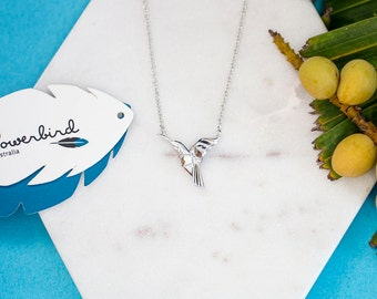 Hummingbird Origami Sterling Silver Short Necklace
