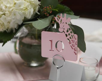Giraffe - Place names and Table number table decorations