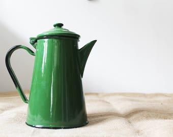 Vintage Green Coffee pot