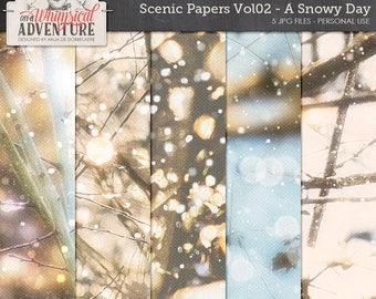 Fairy Lights, Winter Trees, Winter Decor Ideas, A Snowy Day, Digital Backdrop, Instant Download, Digital Scrapbooking Paper, Let It Snow