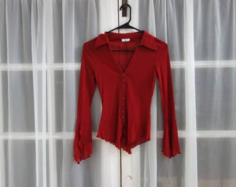 90s Mesh Red Ruffle Top with Bell Sleeves // Flirty Red Witchy Shirt // Red Clueless Top // Size Small