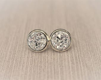 Silver Druzy Earrings - Silver Stud Earrings - Faux Druzy Earrings - Drusy - 12mm Stud Earrings - Bridesmaid Gift - Bridesmaid Jewelry - 8mm