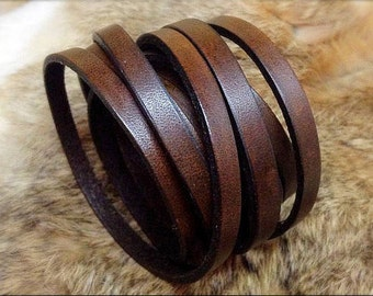 Brown leather wrap bracelet/cuff - ladies/mens - Black bracelet - handcrafted by A9 Design