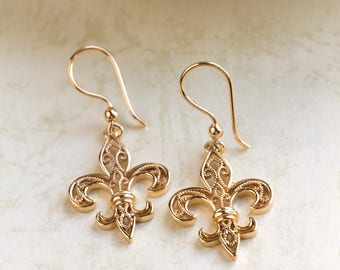 Gold Plated Filigree Earrings- Fleur de Lis- Gold Dangle Earrings     Jewelry for special events, Anniversary Gift, medieval symbol /FL0411P