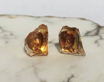 Raw Citrine Stud Earrings, Citrine Earrings, Raw Citrine, Raw Citrine Earrings, Raw Crystal Earrings, Raw Crystal Studs, Raw Stone Earrings