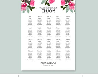 Mint Pink Floral Wedding Seating Chart, TEMPLETT