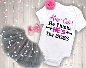 How Cute He Thinks Hes The Boss Baby Bodysuit One Piece Romper Toddler Tee T Shirt Clothes Funny Gift Sister Brother Birthday Baby Shower