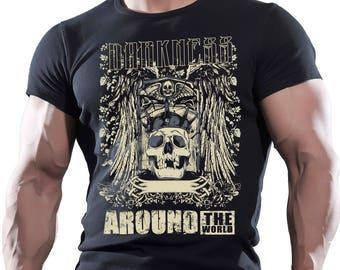 Darkness around the world. Men's black cotton t-shirt