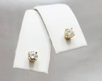 Genuine Diamond Stud Earrings in 14kt Yellow Gold