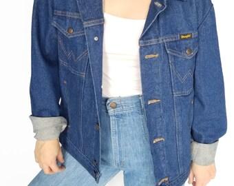 Vintage Dark Blue 'Wrangler' Denim Jacket / Size (S/M)