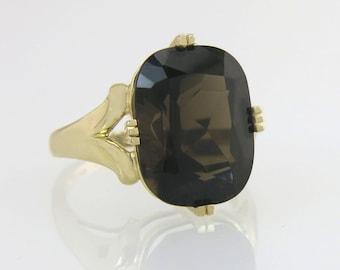 Designer Estate High Polish 14K Yellow Gold 12.00ct Smoky Quartz Ring 5.9g