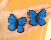 Blue Butterfly Life is Strange Necklace Polymer Clay Chloe and Max