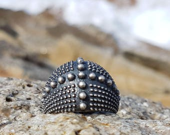Silver Ring 925 chevalier style burnished dotted