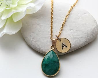 Emerald Necklace -  May Birthstone Necklace -  Personalised Jewellery Jewelry - Gold Emerald Necklace - Birthstone Jewelry Jewellery - B3