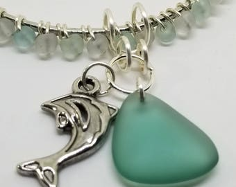 Sea Glass & Dolphin Bangle