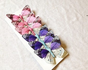 Butterfly 6 Butterflies Pink Blue 3.2 Inches Fake Butterflies Artificial Butterflies Craft Butterflies Wedding Cake