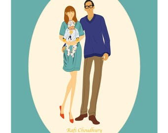 Custom Family Portrait, Mothers' / Fathers' Day / Christening / Baptism - Modern, Fashion Inspired Illustration Print